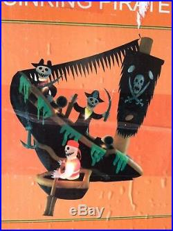 Gemmy Halloween Haunted Animated Sunken Pirate Ship 7.8 Ft Airblown Inflatable