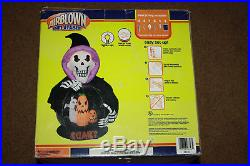 Gemmy Halloween Inflatable Airblown Whirlwind Globe 7' Tall reaper Skeleton