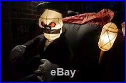 Gemmy Halloween Inflatable Blow Up 8 Ft Long Lighted Horse Carriage Hearse Rare