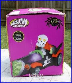 Gemmy Halloween Skeleton Skully Car Lighted Airblown Inflatable Yard Prop 7.5