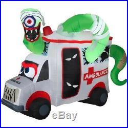 HALLOWEEN 8 Ft ANIMATED SPINNING EYEBALL AMBULANCE Airblown Lighted Inflatable