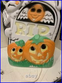 HTF Sun Hill Skeleton Tombstone Cat Double Sided pumpkin Halloween Blow mold