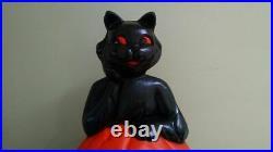 Halloween 35 Black Cat on Pumpkin Lighted Blow Mold General Foam