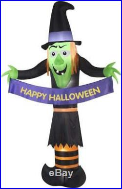 Halloween Air Blown Inflatable Witch Holding Happy Halloween Banner 12 ft NEW