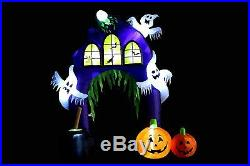 Halloween Air Blown Inflatable Yard Decoration Ghost Castle with Pumpkin Archway