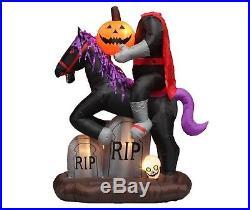 Halloween Air Blown Inflatable Yard Decoration Headless Horseman Pumpkin & Skull