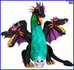 Halloween Animated Wings 3 Headed Dragon Fire & Ice Inflatable Airblown 10 Ft