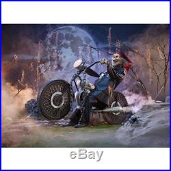 Halloween Decor Motorcycle Riding Reaper Outdoor Lawn Yard Decoration Lighted