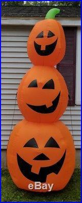 Halloween Inflatable 3 Jack O Lantern Stack Tower 9' 9 FT Pumpkin GEMMY AIRBLOWN
