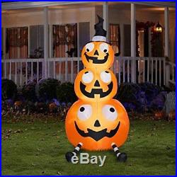 Halloween Inflatable 7ft Pumpkin Stack With Witch Hat By Gemmy, New