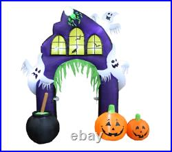 Halloween Self-Inflatable Castle Arch with Pumpkin and Ghost with Internal Light