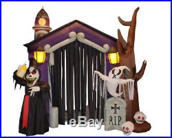 Halloween Self-Inflatable Haunted House Castle with Skeletons Includes Lights