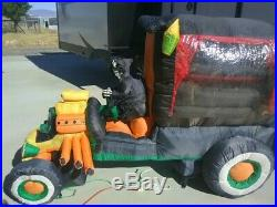 Halloween animated inflatable hot rod with coffin