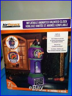 Hard To Find 7-foot Inflatable Animated Haunted Halloween Clock With Black Cat