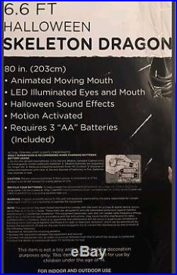 Huge 6.6 FT ANIMATED SKELETON DRAGON Halloween Prop Sounds & Lights Decor 2017