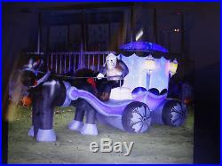 Huge Gemmy Airblown Inflatable Halloween Carriage Light Up Prop Yard Decor New