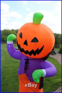 Huge Gemmy Airblown Inflatable Halloween Pumpkin Jack O Lantern Reaper 12' High