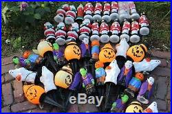 Huge Vintage Lot Empire Blow Mold Halloween Christmas Toppers Stands