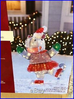 Ice Skating Hippo TuTu & Santa Hat LED Lighted Outdoor Christmas Yard Decor 34