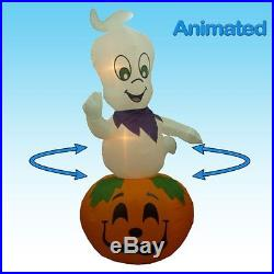 Jumbo 9 Foot Animated Halloween Inflatable Ghost on Pumpkin Yard Decoration