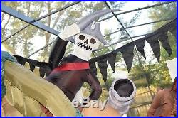 Large Gemmy Halloween Inflatable Sinking Skeleton Pirate Ship Light Up Animated