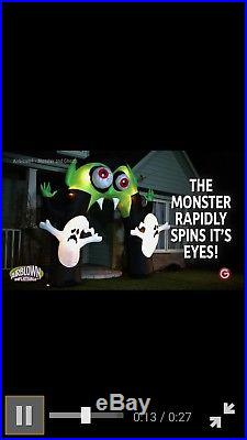 Lighted Monster Archway Eyes Spin Halloween inflatable blow Up 10.5ft Vampire
