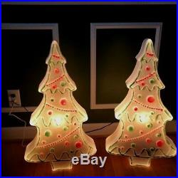 Lot 2 NEW Vintage HTF 28 Don Featherstone Gingerbread Christmas Tree Blow Mold