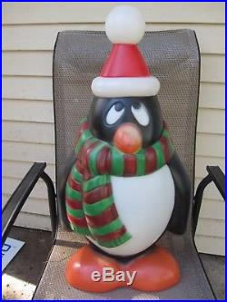 Lot of 2 29 Penguin Blow Mold Chilly Willy red / green & blue / yellow scarf