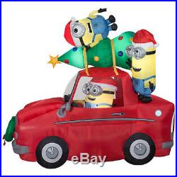 Minions Despicable Me Christmas Car Airblown Yard Inflatable 7' Led Light Up