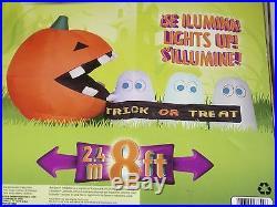 NEW Gemmy 8' Lighted Halloween Airblown Inflatable -Pac Man Run Away Ghost Scene