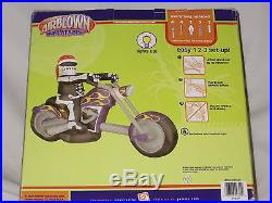 NEW OVER 6' Lighted Skeleton Motorcycle Bike Halloween Airblown Inflatable-NEW