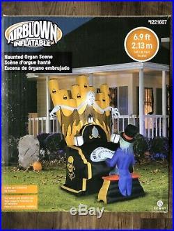 New 6.9 Ft Inflatable Gemmy Haunted Organ Halloween Scene Zombie Skeleton Piano