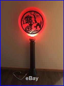 New Vtg Union 44 Halloween Scary Scene Lighted Blow Mold Silhouette Lamp Post
