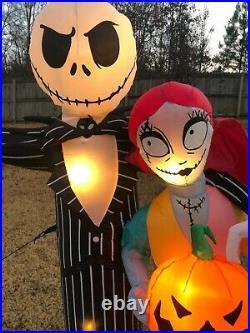 Nightmare Before Christmas Jack, Sally & Zero 6 ft Halloween Inflatable Used