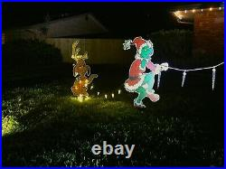 Original GRINCH & Max the dog Stealing CHRISTMAS Lights Yard Art FREE SHIPPING