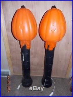 Pair Vintage TPI Halloween PUMPKINS on Posts Jack-O-Lantern Lighted Yard Decor