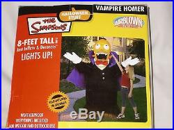 RARE Gemmy 8' Lighted Vampire Homer Simpson Halloween Airblown Inflatable Blowup