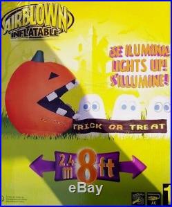 RARE Gemmy Airblown Inflatable 8 ft long Pac Man Run Away Ghost Scene NIB