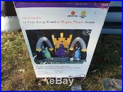 Rare 2008 Halloween Inflatable Airblown 11ft Zombie Organ Player Scene Working