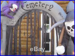 Rare Gemmy Halloween Cemetery Archway 8' x 8' Inflatable Airblown #58504 EUC