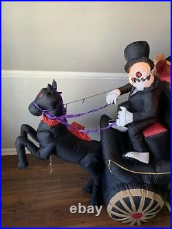 Rare Gemmy Halloween Inflatable Airblown 8ft Carriage Hearse with Sound