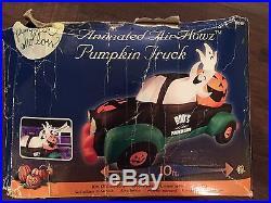 Rare Halloween 10' Wide Air Flowz Animated Lighted Pumpkin Truck Airblown