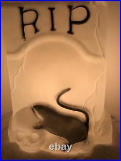 Rare Halloween TPI RIP Tombstone Skeleton Rat Blow Mold Light Yard Decor Grave
