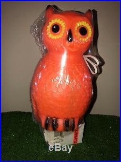 Rare NEW Vintage Union Halloween 14 Orange Lighted Blow Mold Owl Decor Sealed