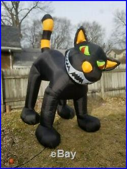 SEE VIDEO Airblown Inflatable 9' Black Cat Animated Head Moves Halloween Blow Up