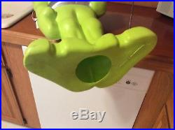 SUPER RARE 36 Green Space Alien Plastic Blow Mold Light Up Yard Halloween Decor