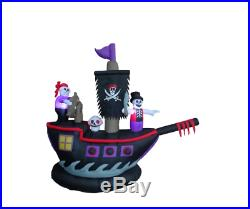 Self-Inflatable Pirate Ship with Skeleton Internal Lighting Halloween Yard Decor