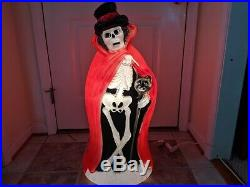 Skeleton with Cat Cane/Red Cape 34 Lighted Halloween Blow Mold