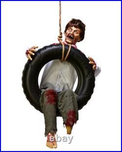 Spirit Halloween Zombie Boy On Tire Swing Animated Yard Prop Decor NEW in Box