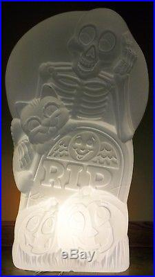 Sun Hill Witch & Skeleton with Cauldron Double Sided Plastic Blow Mold Light